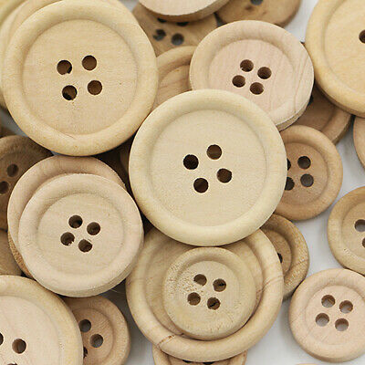50 Pcs DIY  Wooden Buttons Natural Color Round 4-Holes Sewing Scrapbooking