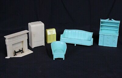Vtg Dollhouse Furniture Lot Miniature Turquoise Aqua Mid Century Mod Sofa Radio