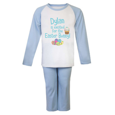 Personalised Name Excited for the Easter Bunny Pyjamas Boys Girls Cute Easter