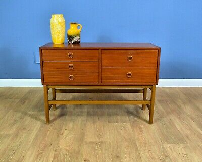 Mid Century Retro Swedish Teak Sideboard Cabinet TV Stand Chest with 5 Drawers