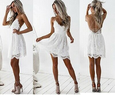 Women Sexy Summer V Neck Backless Evening Party Cocktail Lace Short Mini Dress