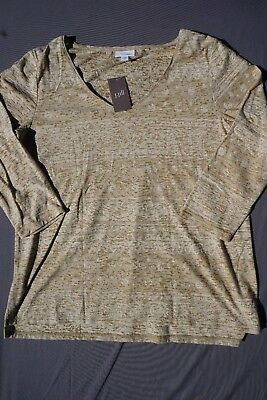 11711ff5 J. JILL ¾ Sleeve Vee Neck Blouse Shirt Top. Brown, Women's Size M ...