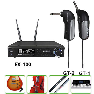 UHF Clip on Wireless Microphone Mic System used for Electric Bass Guitar Violin