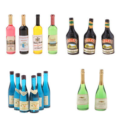 Dollhouse Miniature Wine Bottles Champagne Drink Bottles 1/12 Scale Mixed