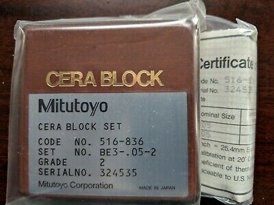 Mitutoyo 516-836 Grade 2 Gauge Block Set BE3 - .05-2