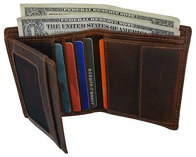 iLi Leather RFID Mens Zip Coin Pocket ID Bifold Wallet 7723