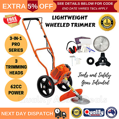 62cc 3-in-1 Wheeled Trimmer Brush Sniper Lawn Trim Mower Cutter Whipper Garden