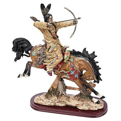 """17.5"""" Native American Warrior Battle Ready Indian With Bow Statue  Sculpture"""
