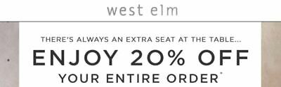 West Elm 20% Off Coupon Entire Purchase ***INSTANT DELIVERY***