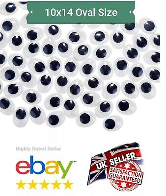 """NEW""""  OVAL WIBBLY WOBBLY GOOGLY EYES CRAFTS STICKERS size: 14 X 10mm top quality"""