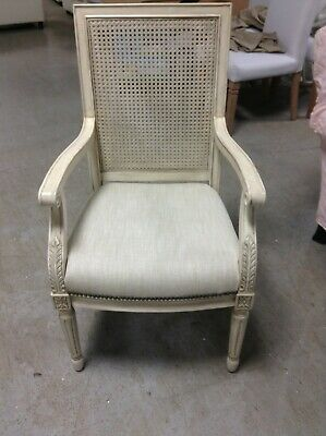Frontgate Ludlow Office Dining Square Back Arm Chair Antique White Wood Linen