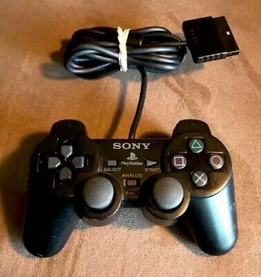 Official Sony PlayStation 2 PS2 DualShock 2 Black Controller Used Authentic OEM!