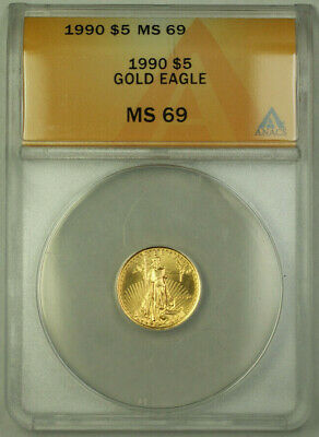 1990 $5 American Gold Eagle Coin AGE 1/10th Oz ANACS MS-69 Gem BU