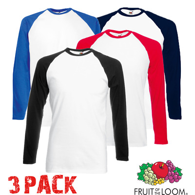 3 X Fruit Of The Loom HOMME Baseball T-Shirt Contraste Manches Longues Sport