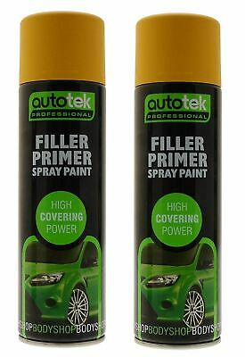 2x Autotek Yellow Filler Primer 500ML High Covering Spray Paint Professional