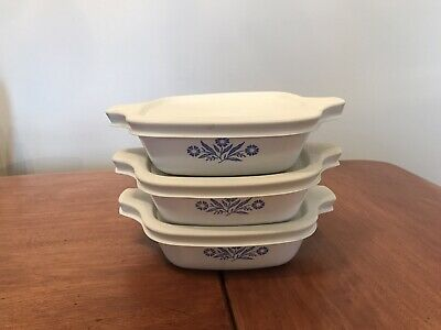 Set of 3 CORNING WARE Blue Cornflower PETITE PAN  P-41-B  w/ Storage Lids P-43PC