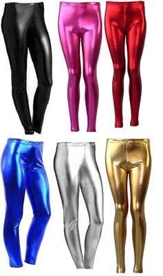 Women Ladies Girls Wet Look Shiny Disco Metallic Leggings Foil  8-22 5-13YRS