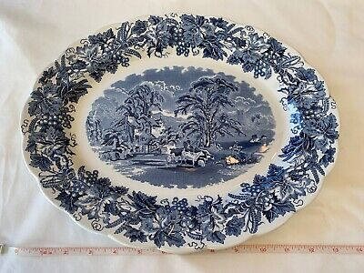 "VTG Booths 'British Scenery' 14"" Oval Serving Platter Blue (Scalloped, A8024)"