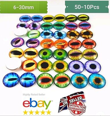50PcS ANIMAL EYES GLASS CABOCHON 6-30MM- Flatback Charms & Cabachons GOOGLY EYES
