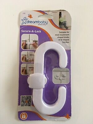 DreamBaby Cabinet Door Handle / Knob Secure A Lock - Child Safety White L132