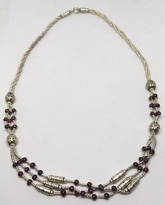"""Vintage 925 Sterling Silver 18"""" Beaded 3 Strand Necklace w Amethyst Stones NOS 6"""