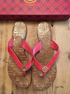 9ffeba2df TORY BURCH THORA Red Leather Thong Flip Flop Sandals Women s Size 7 ...