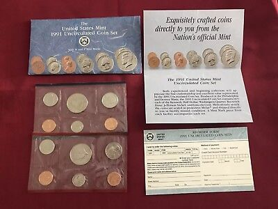 The United States Mint 1991 Uncirculated Coin Set with D and P Mint Marks