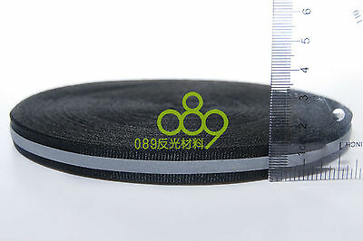 "Reflective Fabric Tape Strip Edging Braid Trim Sew On 0.4""x164 ft Black #B27E GY"