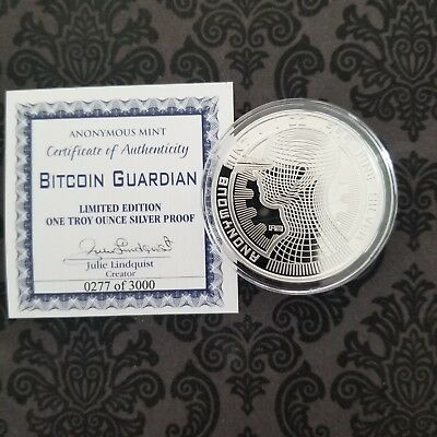Sold Out! Bitcoin Guardian Commemorative 1 Oz Silver Proof Round Capsule & Coa