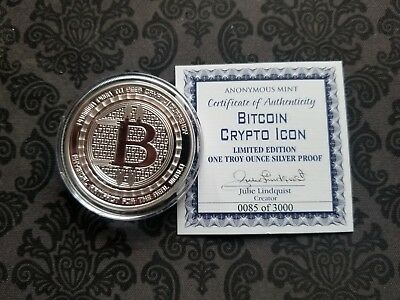 Bitcoin Crypto Icon Proof Coin 1 Oz Silver Round Commemorative Physical Low Mint