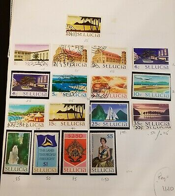 St.Lucia,nice lot of MINT/USED stamps on 9 pages, CV:$42.00
