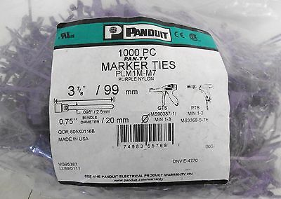 (≈850) Panduit PLM1M-M7 Purple Nylon Marker Ties