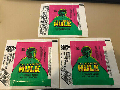 The Incredible Hulk - 10x Wax Pack Card Wrappers - 1979 Topps - No Tears !!!