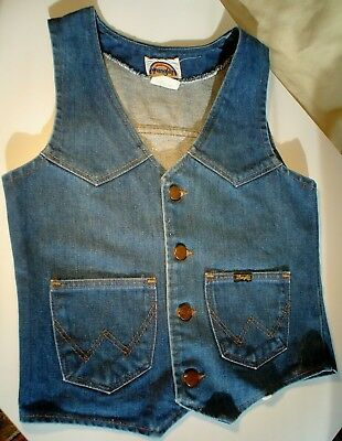 Vintage Rainbow Logo Wrangler Jeans Denim Vest Youth Large