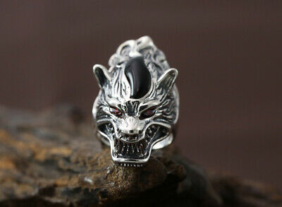 925 Sterling silver wolf Biker men's hiphop ring rings jewelry adjustable P2824