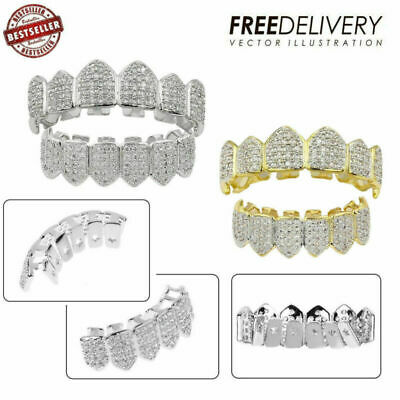 18K Plated Gold /Silver Top Bottom Grillz Mouth Bling Diamond Teeth Grill Design