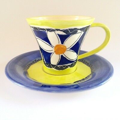Vintage Signed Lane Sydney Australian Studio Pottery Handpainted Cup Saucer Duo