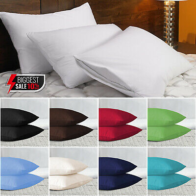 Pack of 2 Pillows, Luxury Bounce Back Hollow Fibre & Housewife Pillow Cases