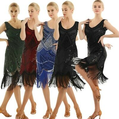Sexy Women's 1920s Vintage V-Neck Flapper Fringe Beaded Great Gatsby Party Dress