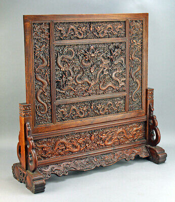 """Antique Chinese Dragon Wood Lacquered Table Screen  26"""" Tall"""