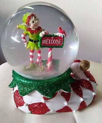 Merry & Bright Lime Green And Red Elf Welcome Snowglobe
