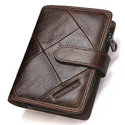 Retro Mens Genuine Leather Bifold Wallet Coin Zipper Pocket ID Card Holder Purse
