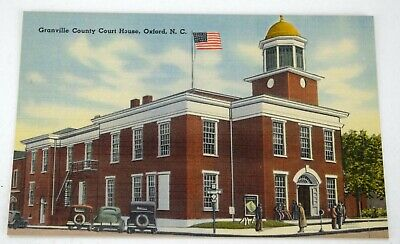 OXFORD NC POSTCARD Granville County Courthouse Linen North Carolina Old Cars