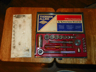 """Vtg THORSEN ALLIED TOOLS 21 Piece Combination 1/4""""-3/8"""" Drive Socket Wrench Set"""