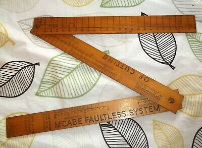 McCabe Faultless System Of Cutting Dressmakers Measure Folding Wood Ruler