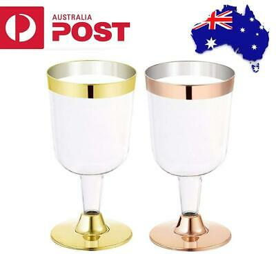 6Pcs Disposable Plastic Goblet Martini Champagne Red Wine Glasses Wedding Party