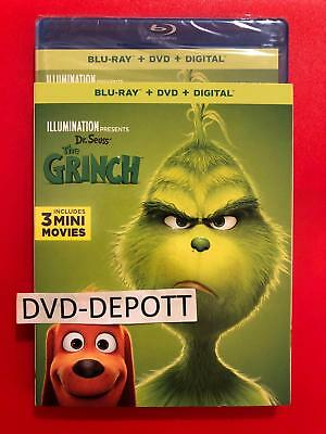 Dr. Seuss' THE GRINCH 2018 2019 Blu-Ray + DVD + Digital W/Slipcover Free Shiping