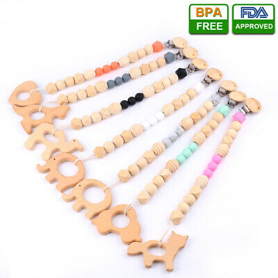 DIY Infant Pacifier Clip Silicone Wooden Beads Chain Baby Teether Chewable Toy