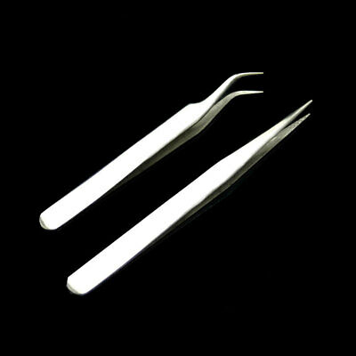 Stainless Steel False Eyelash Extension-Curved Straight Tweezers Kit Tools 2Pcs