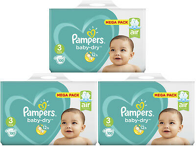 Lot 300 Couches Pampers baby-dry Taille 3 Midi de 6 à 10kg Mega Pack